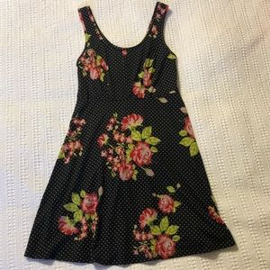Floral with polka dots black dress